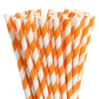 Paper Straws - Orange Stripes