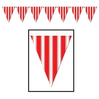 Carnival/Circus Striped Red & White Pennant Banner
