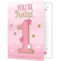 1st Birthday - One Little Star Girl Invitations