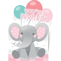 Enchanting Elephant Girl Invitations