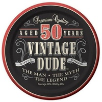 Vintage Dude 50th Birthday Lunch Plates