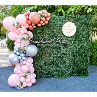 Photo Wall - Green Wall with Organic Balloon 3/4 Arch