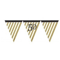 50th - Gold & Black Flag Banner
