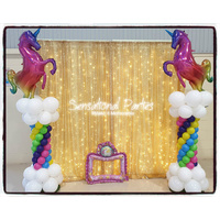 Photo Wall - Shimmer Curtain Lights & Themed Balloon Columns