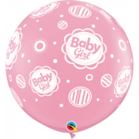 90cm Latex Baby Girls Dots Around Printed Balloon