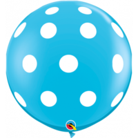 90cm Latex Big Polka Dots Robins Egg Blue Printed Balloon