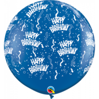 90cm Latex Happy Birthday Blue Printed Balloon