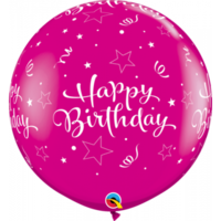 90cm Latex Birthday Shining Star Wildberry Printed Balloon